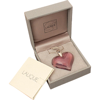 Lalique Purple Crystal Heart Sterling Necklace in Orilginal Box with Paperwork