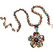 Signed Hollycraft Necklace with Dangle Pendant, Multi Color Rhinestones, Emerald Cut, Pear Shape, Marquis, Aurora Borealis