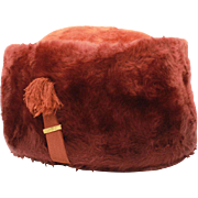 Schiaparelli Russian Cossack Style Furry Brown Wool Hat, Made in Austria Caribou