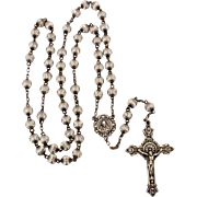 Sterling Hill Mark Rosary with Sterling Crucifix & Sacred Heart of Jesus Centerpiece, Fluted Silver Plate Beads