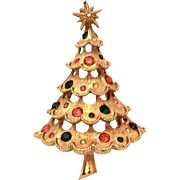 Mylu Christmas Tree Pin, Gold Tone with Pink & Green Rhinestones