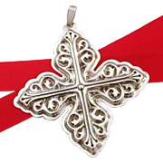 Reed & Barton Sterling Christmas Cross Tree Ornament 1978
