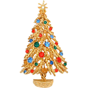 Signed ART Christmas Tree Pin BOOK PIECE Gold Tone with MultiColor Rhinestones