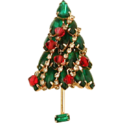 Christmas Tree Pin with Green Open Back Rhinestone Branches & Red Crystal Bead Dangle Ornaments