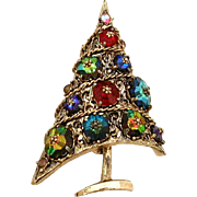 Weiss Christmas Tree Pin with Margarita Rhinestones in Antiqued Gold Tone