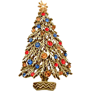 ART Enamel Christmas Tree Pin in Green with White Snow & Multi Color Rhinestones, Designer Signed