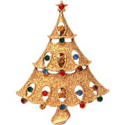 Christmas Tree Pin Signed JJ, Gold Tone Xmas Tree with Openwork & Multi Color Rhinestones