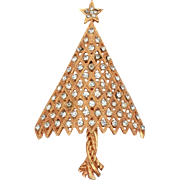 Unsigned Corocraft Christmas Tree Pin, Clear Rhinestone Xmas Brooch