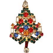 "Warner Christmas Tree Pin with Rhinestone Candles, 1 7/8"" Version, Designer Signed"