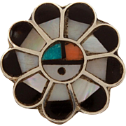 Zuni Sun Face Ring in Sterling, Mother of Pearl, Turquoise, Coral, Onyx - Vintage Native American Indian Jewelry, Zuni Kachina Ring, Size 9.5