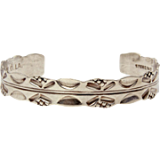 Sterling Cuff Bracelet Hand Made in New Orleans Louisiana, Hand Stamped Design