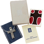 "James Avery Sterling Pocket Cross ""Jesus Christ is Lord"" with Descending Dove, Loaves and Fishes, in Box with Pouch & Paperwork"