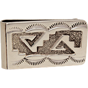 Sterling Navajo Money Clip Signed RH, Possibly Robert Haley - Native American Indian Silver