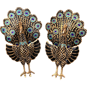 Circa 1930 Siam Sterling Enamel Peacock Earrings, Vintage Clip Ons, Blue & Green Enameled Birds, Gold Washed Sterling Gilded