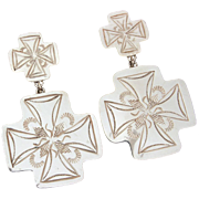 Sterling Santa Fe Cross Pierced Dangle Earrings with Hand Stamped Southwest Design