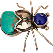 Herbert Ration Navajo Bug Pin, Sterling Turquoise Lapis House Fly Brooch