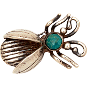 Navajo Flying Bug Pin, Sterling Turquoise Insect Brooch, Vintage Native American Fly