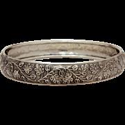 Danecraft Sterling Bracelet with Registered Signature, Sterling Silver Bangle, Leaves & Twisting Vines