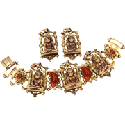 Czech Glass Buddha Bracelet & Earrings Set with Carnelian Glass Stones & Costume Pearls