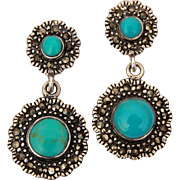 Sterling Marcasite Turquoise Pierced Dangle Earrings, Dainty Size 1 1/8""