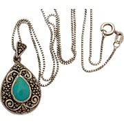 "Sterling Locket with Marcasites & Turquoise, Tear Drop or Egg Shape Pendant on 18"" Sterling Box Chain"