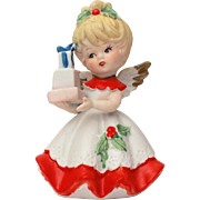 Christmas Angel Bisque Porcelain Figurine Blonde Winged Cherub with Xmas Presents