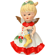 Christmas Angel with Xmas Stocking Bisque Porcelain Figurine Blonde Winged Cherub