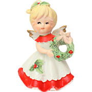 Bisque Porcelain Christmas Angel with Holiday Wreath, Xmas Figurine Blonde Winged Cherub
