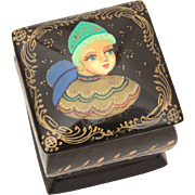 "Miniature 1"" Russian Lacquer Box with Hand Painted Fairy Tale Woman, Nanex Russia"