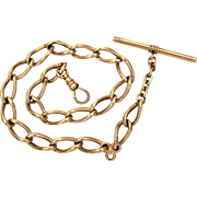 "Antique Pocket Watch Chain Signed LWR with T Bar and Swivel, Chunky Curb Link Chain Edwardian 13.75"" Long"