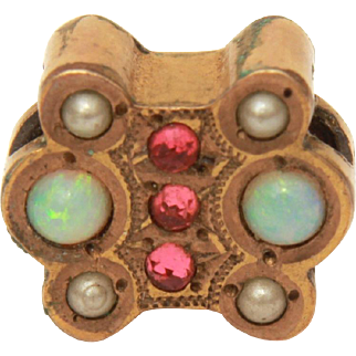 Antique Victorian Watch Slide with Seed Pearls, Opals, and Tiny Pink Garnets