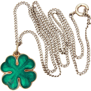 Norway Sterling Guilloche Ivar Holth Enamel Lucky 4 Leaf Clover, Good Luck Charm Pendant Necklace
