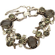 Juliana 5 Link Bracelet with Smoke Gray & Clear Glass Rhinestones, Wire Over Details, Verified Delizza & Elster