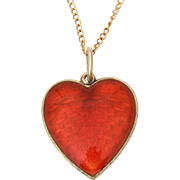"""Ivar Holth Sterling Enamel Red Heart Pendant Necklace Lord's Prayer in Norwegian, Norway Sterling, 15"""" Gold Filled Chain"""