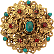 Original by Robert Pin Pendant, Turquoise & Garnet Rhinestones in Layered Flowers & Filigree Antiqued Gold Tone Brooch
