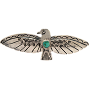 "4.25"" Native American Indian Thunderbird Pin Sterling & Turquoise, Large Navajo Stamped Silver Brooch"