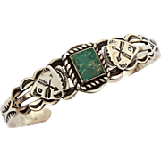 Maisels Navajo Cuff Bracelet with Native American Indian Arrowheads and Arrows, Square Green Turquoise Maisel's