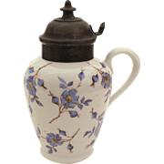 Antique Stoneware Maple Syrup Pitcher with Hinged Lid, Blue & White Flowers Ironstone