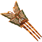 Art Deco Butterfly Hair Comb Tortoiose Shell Celluloid with Green & Clear Rhinestones