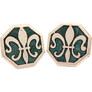 "RESERVED Sterling Fleur de Lis Cufflinks with Swirled Green Resin Enamel Inlay, Symbol of France Silver Cuff Links 1"" x 1"""