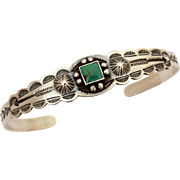 Child Size Sterling Square Green Turquoise Navajo Cuff Bracelet with Native American Indian Arrows, Conchos, Fred Harvey Era