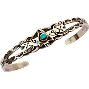 Fred Harvey Era Maisels Navajo Cuff Bracelet Child Size Sterling Turquoise with Native American Indian Arrowhead & Thunderbirds