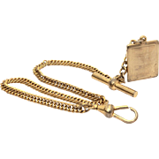 Yves Saint Laurent Costume Jewelry Curb Link Watch Chain & YSL Fob