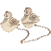 Webster Sterling Duckling Baby Bib Clips, Silver Duck Sweater Clip