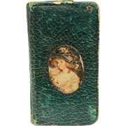 "Antique Purse Mirror Folding Book Style with Celluloid Portrait, 3.75"" Small Pocket Size"