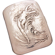 Unger  Bros. Sterling Cigarette Case, Art Nouveau Nude in Ocean Waves