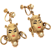 Selro Selini Asian Princess Dangle Screw Back Earrings with Faux Pearls