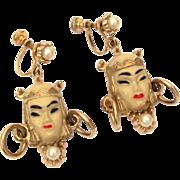Selro Selini Asian Princess Dangle Screw Back Earrings with Faux Pearls