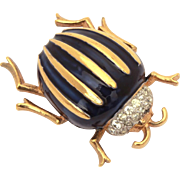 Panetta Beetle Bug Pin, Gold Tone with Dark Blue Enamel & Pave Rhinestones, Insect Brooch