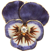 "Antique 14k Diamond Enamel Purple Pansy Pin Pendant Signed DeEs, 3/4"" x 3/4"""